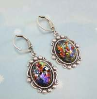 Black Fire Opal Earrings Dangles Black Opal Earrings RARE ...
