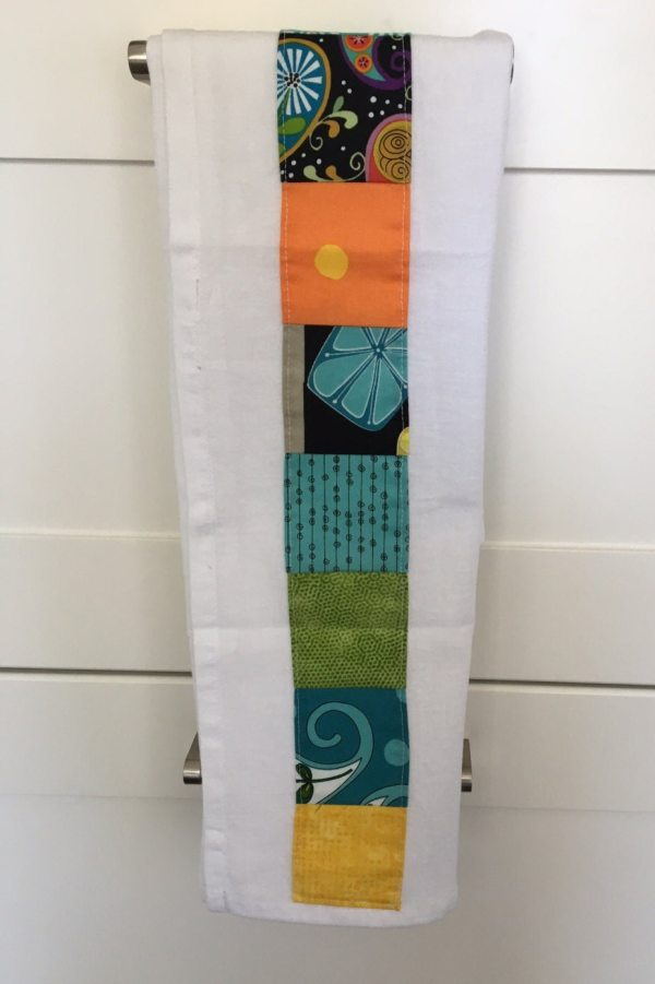 Flour Sack Towels With Bright Colored Patchwork Embellishments Spring Hostess