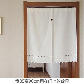 kitchen curtains for sale table and corner bench 田园精致刺绣小花朵布艺门帘窗帘半帘卧室厨房风水帘乳白色面料 不透明