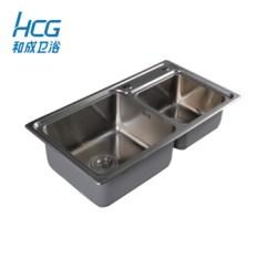 Stainless Steel Undermount Kitchen Sinks 4 Hole Faucet 和成卫浴 Hcg Hcg和成厨房水槽不锈钢水槽厨房双槽拉丝洗碗洗菜盆新款 Hcg和成厨房水槽不锈钢水槽厨房双槽