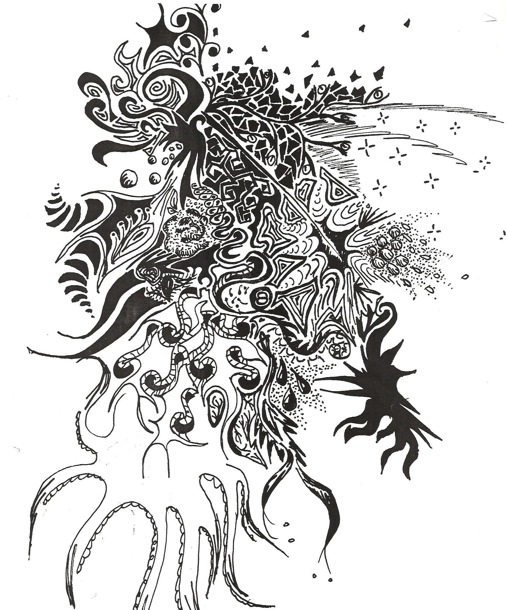 giant octopus diagram volvo v70 wiring 1998 abstract drawing
