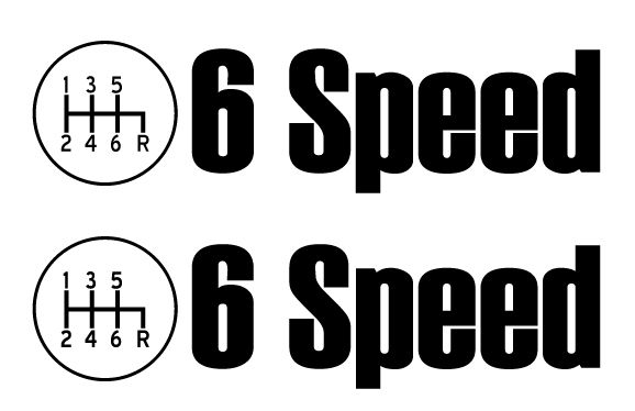 6 Speed Decal 2 pack Sticker for Manual stick transmission