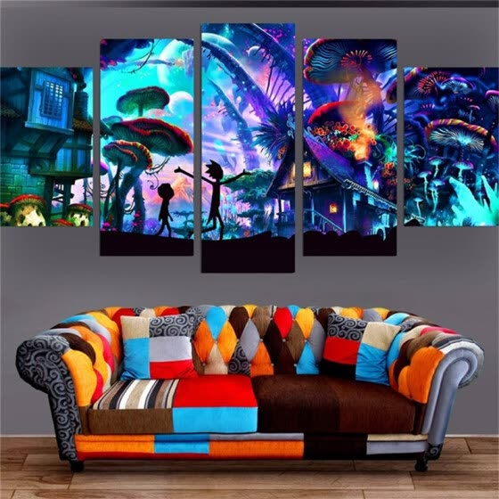 Shop Wall Art Modular Home Decor Rick And Morty Paintings Living Room Hd Printed Animation Posters No Frame 100x55cm Online From Best Arts Crafts On Jd Com Global Site Joybuy Com