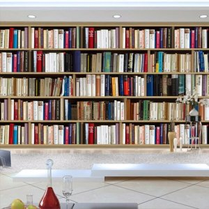 study background wall 3d bookcase painting mural wallpapers sofa custom paper straw murals stickers joybuy decor garden