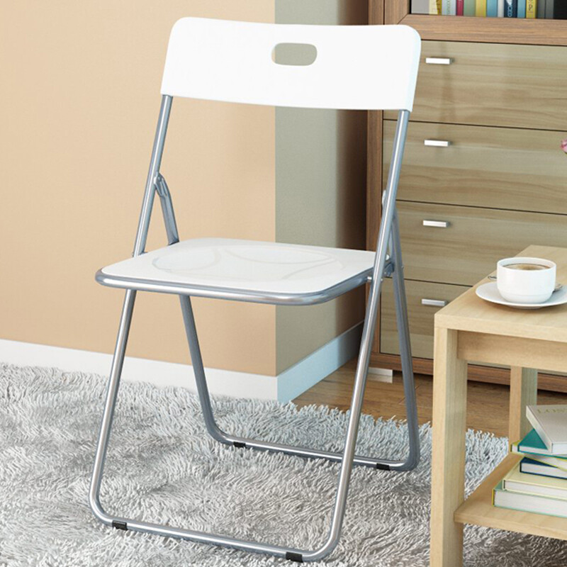folding chair for living room black handsome stool nordic plastic office computer portable balcony leisure back dining white sl1612y7