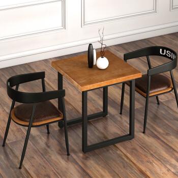 retro kitchen table tile flooring for 卡尔维努斯美式实木复古小餐桌铁艺简约四方桌餐厅桌椅组合家用休闲奶茶桌 卡尔维努斯美式实木复古小餐桌铁艺简约四方桌餐厅桌椅