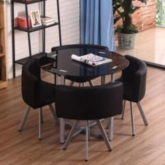 Black Kitchen Table And Chairs Aid Gas Range 简约现代客厅小桌子省空间玻璃桌子圆钢化4人家用厨房餐桌椅组合黑色圆形 简约现代客厅小桌子省空间玻璃桌子圆钢化4人家用厨房餐