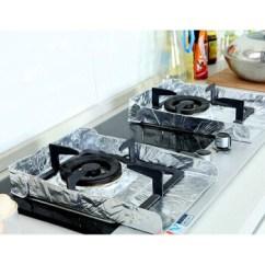 Kitchen Stove Tops Triangle Table 厨房加厚煤气灶防油铝箔锡纸炉灶清洁垫燃气灶台面垫子 10片装 图片