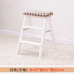 White Kitchen Bench Designing Cabinets 实木折叠椅凳子家用厨房高凳子省空间多功能简易梯凳高椅子板凳白色方格 实木折叠椅凳子家用厨房高凳子省空间多功能简易梯凳高