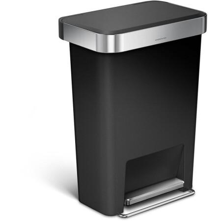 simplehuman kitchen trash can backyard design 美国直邮simplehuman 塑料垃圾桶45升长方形垃圾桶可以黑色塑料 图片价格 图片价格品牌报价 京东