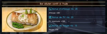 Final Fantasy XV bar allurien confit à l'huile