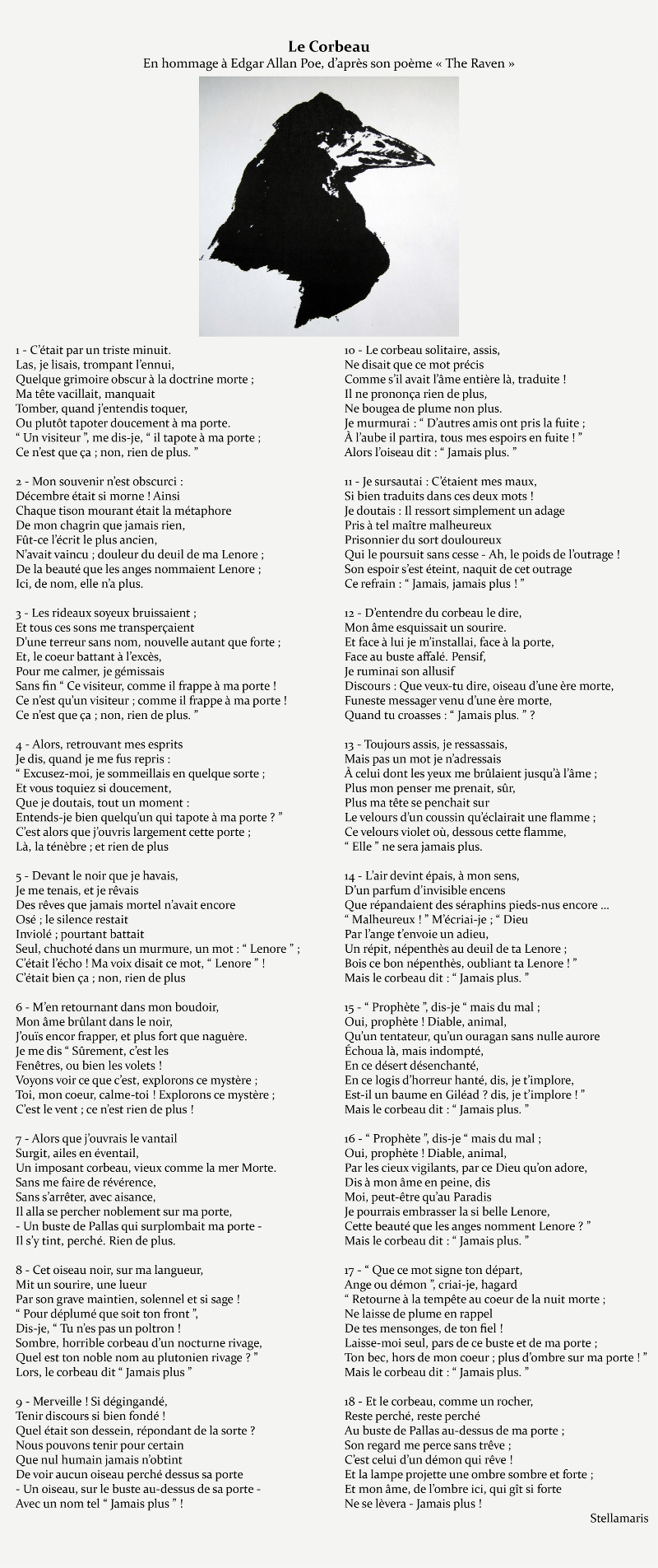 Edgar Allan Poe Le Corbeau : edgar, allan, corbeau, Corbeau, Adaptation, Français, Poème, D'Edgar, Allan, Titre, D'hommage, Stellamaris., Poèmes, Photographie