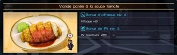 Final Fantasy XV viande panée à la sauce tomate