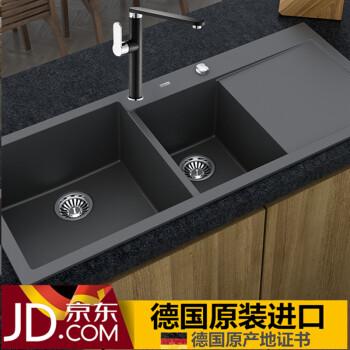 black sink kitchen faucet stainless steel luccio 德国原装进口 石英石水槽黑色花岗岩水槽厨房手工槽洗菜盆单槽 石英石水槽黑色花岗岩水槽厨房手工槽洗