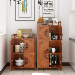 Bamboo Kitchen Cabinets Storage Shelves 居竹友楠竹厨房置物柜微波炉架餐边柜碗碟柜橱柜多层餐厅雕花多用简约复古 居竹友楠竹厨房置物柜微波炉架餐边柜碗碟柜橱柜