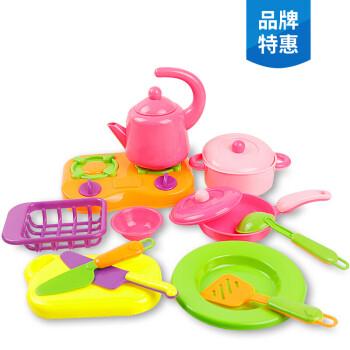 little girl kitchen sets wayfair cabinets 儿童过家家迷你厨房玩具套装做饭小女孩娃娃家玩具3 6岁水壶餐具14件套