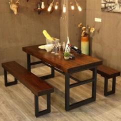 Kitchen Table Bench Seat 36 Curtains 美线康桥美式乡村简约桌子原木复古餐桌茶桌椅组合铁艺做旧实木餐厅长桌长 美线康桥美式乡村简约桌子原木复古餐桌茶桌椅组合铁艺做