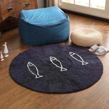 navy blue kitchen rugs dishes 创意小鱼圆形地毯床边全棉大地垫客厅沙发前大地垫无静电可水洗海军蓝 鱼 创意小鱼圆形地毯床边全棉大地垫客厅沙发前大地