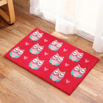 owl kitchen rugs blue valance 欧润哲地毯 欧润哲地毯印度进口椰棕花园入户大门地毯猫头鹰款 行情报价