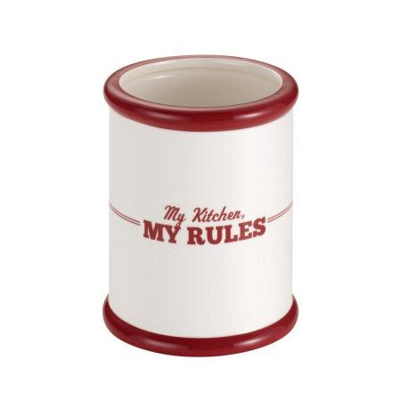kitchen tool crock island hoods 美国直邮cake boss 台面配件陶瓷工具缸 奶油与红色 我的厨房 我的规则 我