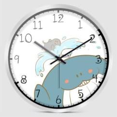 Blue Kitchen Wall Clocks Metal Base Cabinets 疯小猫 Hicat Hicat疯小猫蓝色小鲸鱼创意挂钟卧室厨房儿童房家居电子 Hicat疯小猫蓝色小鲸鱼创意挂钟