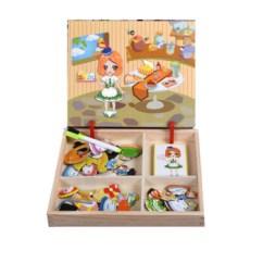 Kids Wooden Kitchen Orange Canisters 磁铁磁力拼图儿童玩具3 6岁宝宝男女孩子木质立体磁性拼拼乐厨房换衣款 6岁宝宝男女孩子木质立体磁性拼