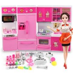 Full Kitchen Set Cabinets With Drawers 芭比娃娃仿真餐具厨房玩具套装儿童玩具新年礼物小厨房完整组合 娃娃 图片价格品牌报价 京东