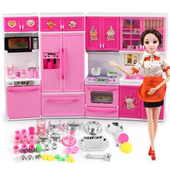 barbie kitchen playset mirrors 芭比娃娃仿真餐具厨房玩具套装儿童玩具新年礼物小厨房完整组合 娃娃 图片价格品牌报价 京东