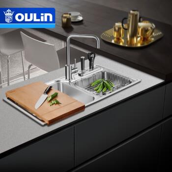 high end kitchen sinks affordable islands 欧琳 oulin 水槽双槽cs413 高端厨房304不锈钢水槽含龙头洗菜盆洗碗池 高端厨房304不锈钢水槽含龙头