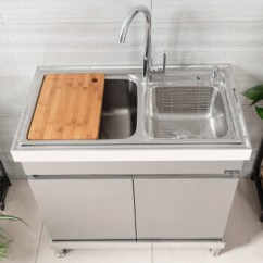 Kitchen Sink Cabinets Refrigerator 贵畅厨房水槽柜集成水槽柜多功能落地洗碗池304不锈钢洗菜盆双槽带刀架c 贵畅厨房水槽柜集成水槽柜多功能落地洗碗池304不锈钢