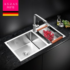 Kitchen Sink 33 X 22 Undermount Double 阿萨斯 Asras 8245a 304不锈钢手工水槽双槽厨房洗菜盆不含龙头82 45 304不锈钢手工水槽双槽厨房洗菜