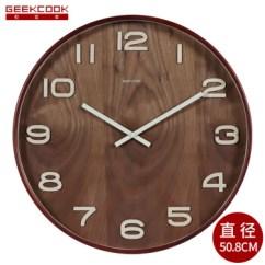 Rustic Kitchen Clock Kids Wooden 极客库 Geekcook 复古实木制大号20英寸客厅办公室静音时钟挂表中式中国 复古实木制大号20英寸客厅办公室静音