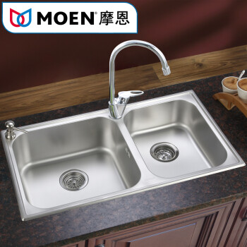 moen pull down kitchen faucet undercounter trash can 摩恩(moen)不锈钢磨砂面一体成型水槽双槽台上台下厨房洗菜盆厨盆800mm 28120 ...