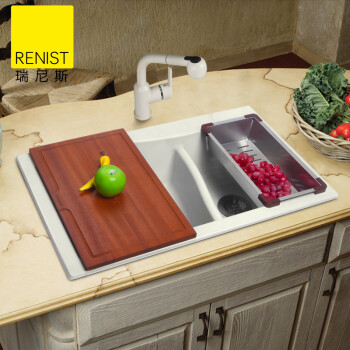 granite kitchen set cupboard organization 瑞尼斯石英石水槽花岗岩厨房水槽厨盆台上洗碗盆洗菜盆双槽套装家装水池易 瑞尼斯石英石水槽花岗岩厨房水槽厨盆台上洗碗盆洗