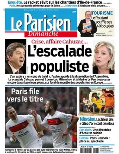 Le Parisien du Dimanche 7 Avril 2013