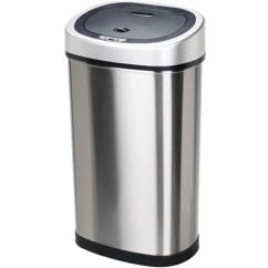 13 Gallon Kitchen Trash Can Cart With Stainless Steel Top 美国直邮nine Stars 垃圾桶运动传感器超薄无缝13加仑垃圾桶 不锈钢 360buy