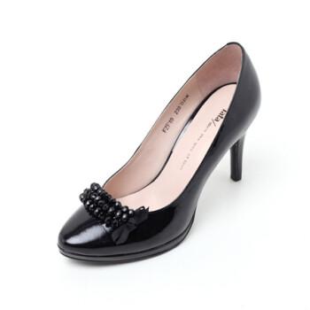 Tata他她黑色皺漆牛皮女皮鞋FZF19D 40【圖片 價格 品牌 報價】-京東