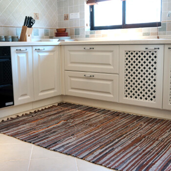 large kitchen rug single hole faucet 环保布条大地毯客厅地毯卧室地毯茶几地毯铺满厨房地垫地毯咖条纹 环保布条大地毯客厅地毯卧室地毯茶几地毯铺满厨房地垫
