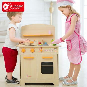 wooden kids kitchen cabinets plans 德国classicworld木制儿童厨房玩具套装大号过家家男女孩玩具美食家厨房 图片价格品牌报价 京东
