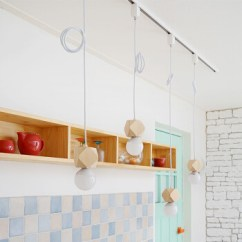 Kitchen Furniture Store Discount Faucets 黑白色展厅背景墙全套轨道灯家具店厨房创意导轨吊灯灯具 四头吊线 白