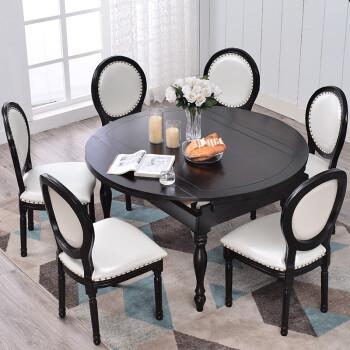 round black kitchen table rachael ray accessories 美式实木餐桌可伸缩餐台圆餐桌椅组合圆形吃饭桌子家具黑色餐桌1 35米1桌6 美式实木餐桌可伸缩餐台圆餐桌椅组合圆形吃饭桌子