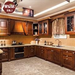 Oak Kitchen Islands Appliance Brands 贝安居整体实木橱柜定做美式红橡木厨房定制多层板柜体开放式原木装修石英 贝安居整体实木橱柜定做美式红橡木厨房定制多层板柜体
