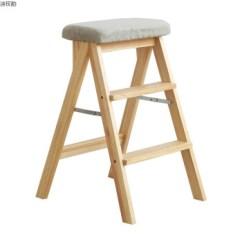 Gray Kitchen Chairs Countertop Types 餐凳梯凳可折叠高凳子厨房创意实木板凳用多功能椅子原木色 灰色坐垫 餐凳梯凳可折叠高凳子厨房创意实木板凳用多功能椅子