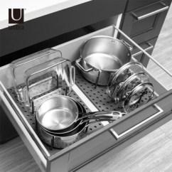 Kitchen Divider Pull Out Trash Can Umbra厨房抽屉分隔器厨房分隔盒分类餐具橱柜整理盒灰色 价格 品牌 Umbra