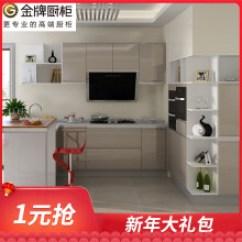 Kitchen Cabinates Lacquer Cabinets 厨柜门 价格 图片 品牌 怎么样 京东商城 闪购 金牌厨柜整体橱柜定做华尔兹香槟色石英石整体