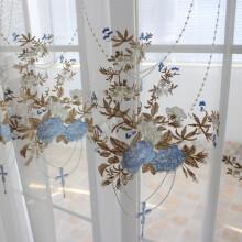french lace kitchen curtains unfinished wood cabinets 浅蓝色窗帘 价格 图片 品牌 怎么样 京东商城 惊喜特惠 现代田园窗纱简约现代刺绣窗纱法式浪漫公主房蕾丝