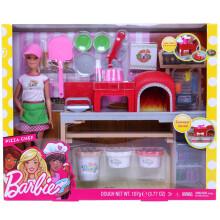barbie kitchen playset menards sinks 芭比厨房 价格 图片 品牌 怎么样 京东商城 barbie芭比娃娃之披萨学院女孩公主套装礼盒过家家厨房玩具fhr09