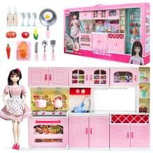 full kitchen set tables sets 芭比娃娃厨房组合 价格 图片 品牌 怎么样 京东商城 安丽莉女孩芭比娃娃玩具套装洋娃娃大礼盒换装衣服公主过