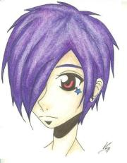 purple haired emo anime. abandonned-kitty-cat