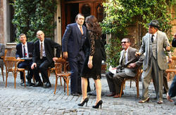 Monica Bellucci with great cleavage films a commercial for Martini Gold in Rome - Hot Celebs Home
